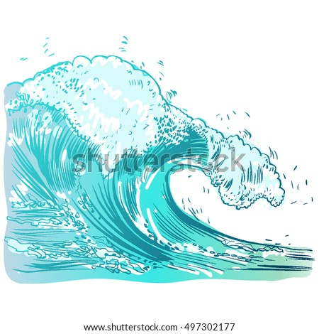 Vector Illustration of handdrawn handpicked waves #497302177