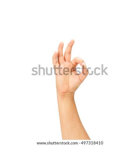 Beautiful  hand okay isolated on white background #497318410