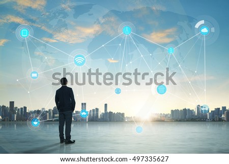 International business concept with businessman on city skyline background with network on map and sunlight #497335627