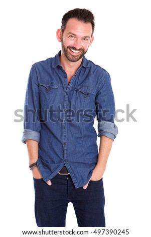 Portrait of stylish mature guy posing with hands in pocket against white background  #497390245