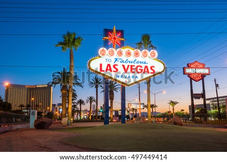 LAS VEGAS - JULY 9: The Welcome to Fabulous Las Vegas sign on Las Vegas Strip on July 9, 2016. Landmark funded in May 1959  #497449414