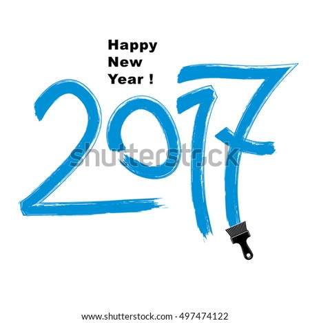 2017 vector illustration, Happy New Year inscription made with brushstrokes drawn with painting brush. #497474122
