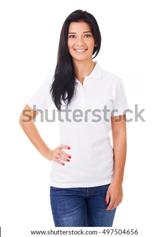 Happy woman in white polo shirt on a white background #497504656