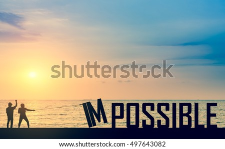 Silhouette business man success to eliminate, improve, change impossible to possible text with sky background to success, challenge, motivation, achievement, goal improvement opportunity csr social.