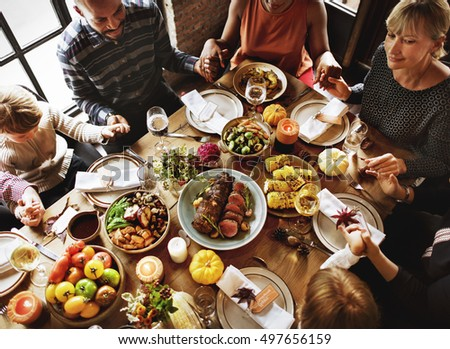 People Holding Hands Praying Thanksgiving Celebration Concept #497656159