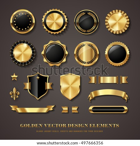 collection of elegant black and golden design elements - shields, labels, seals, banners, badges, scrolls and ornaments Royalty-Free Stock Photo #497666356