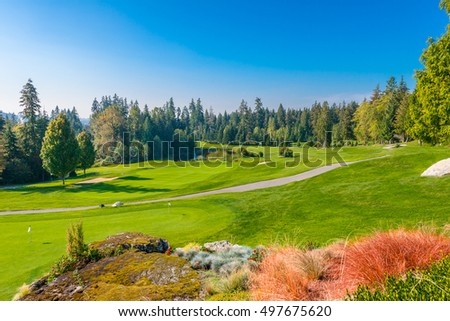 Golf course in a sunny day. #497675620