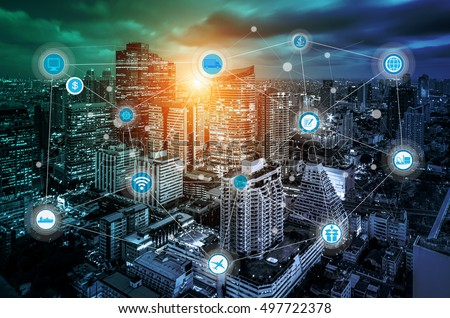 smart city and wireless communication network, business district with expressway and highway, abstract image visual, internet of things concept #497722378