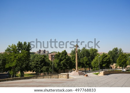 SALAMANCA, SPAIN - AUGUST 3, 2016: View on the medieval Crucero of the Puerta del Rio in the historic center of Salamanca, Spain #497768833