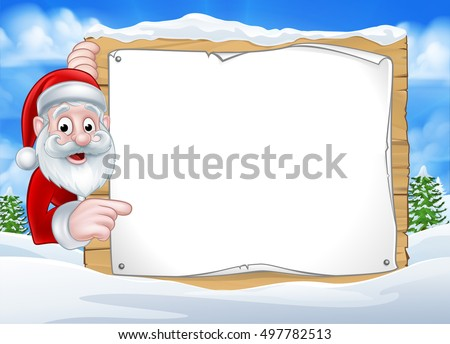 A happy Christmas Santa cartoon character in a winter scene peeking around pointing at a sign