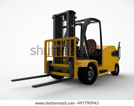 the image of a forklift, on a white background, 3d rendering #497790943