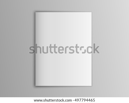 Blank mock up vector portrait cover magazine isolated on gray. #497794465