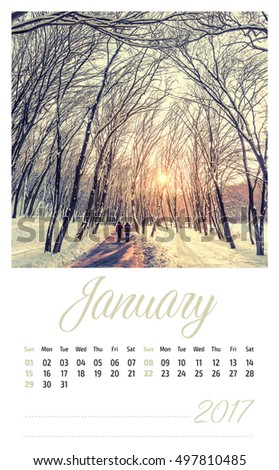 Nature photo calendar with beautiful minimalist landscape 2017. January