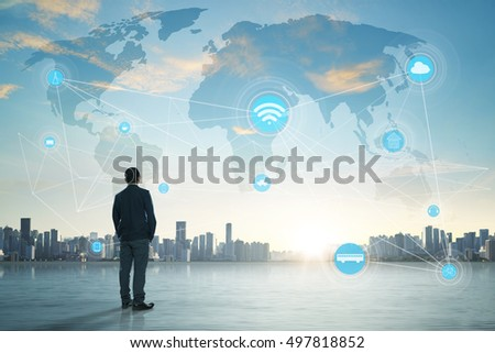 International business concept with businessman on city skyline background with network on map and sunlight #497818852