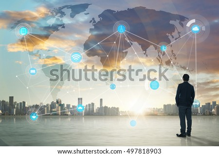 International business concept with businessman on city skyline background with network on map and sunlight #497818903