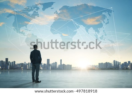International business concept with businessman on city skyline background with network on map and sunlight #497818918