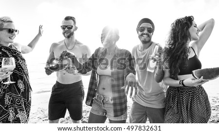 Diverse Young People Fun Beach Concept #497832631