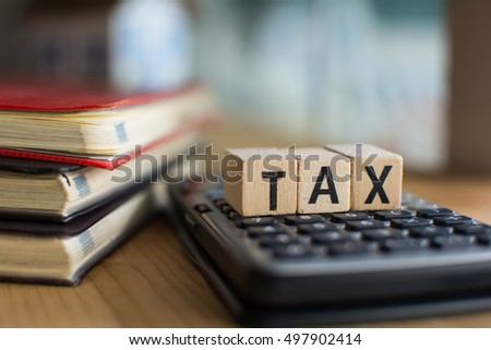 Word of TAX spelled with colorful wooden alphabet blocks.Selective focus,shallow depth of field #497902414