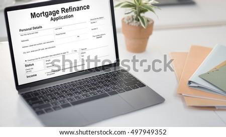Mortgage Refinance Application Cash Loan Concept #497949352