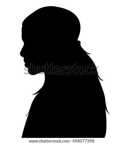 kid head silhouette vector #498077398