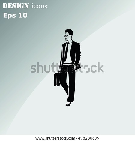 Confident businessman with a briefcase. Vector illustration. #498280699