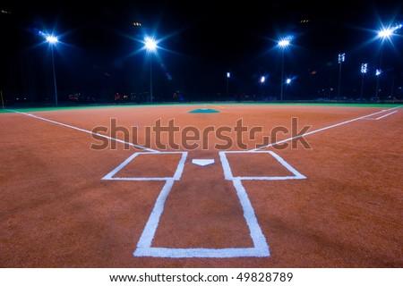 Baseball diamond shot at night from catchers box #49828789