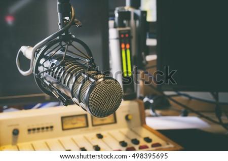 microphone in radio studio #498395695