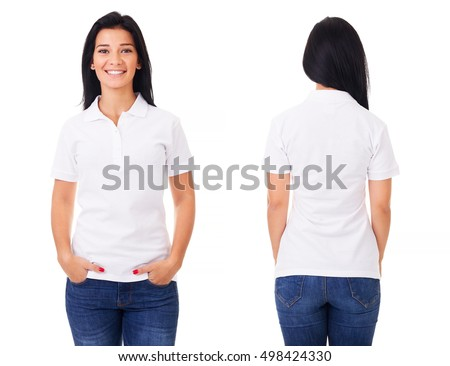 Young woman in white polo shirt on white background #498424330