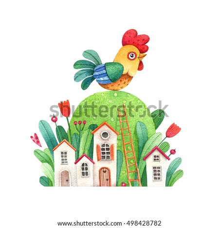 Watercolor illustration of a rooster and houses. Cute cartoon rooster. Symbol of the new year.