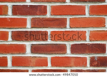 Close up view of a red brick wall #49847050