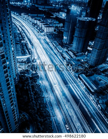 Aerial View of Shanghai overpass at Night in China. #498622180