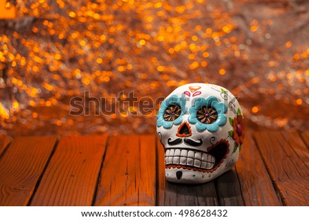 Halloween Dia De Los Muertos Celebration Background With Sugar Skull. Wide Shot Selective Focus With Copy Space. Royalty-Free Stock Photo #498628432
