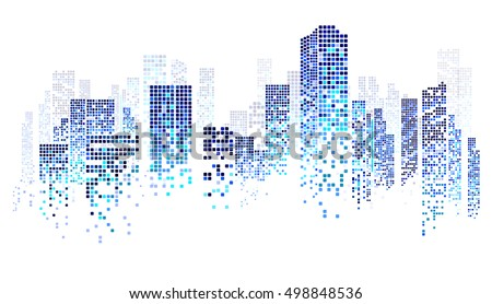 City scene on night time, cityscape blue pattern on white background Royalty-Free Stock Photo #498848536