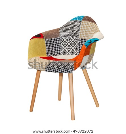 Modern textile chair in colorful pattern isolated #498922072