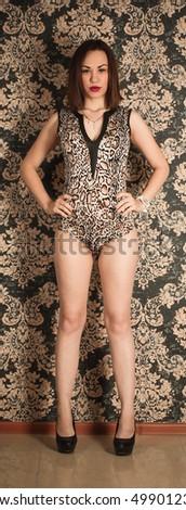 Nastya bodysuit tights on the set in the interior Studio #499012393