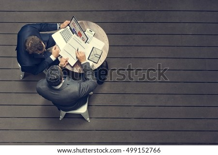 Two Businessmen Cafe Meeting Insurance Application Concept Royalty-Free Stock Photo #499152766