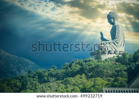 Giant Buddha statue at Ngong Ping,Hong Kong / Vintage look