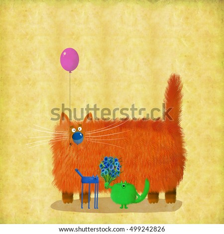 A funny company of colorful cats holding balloons and flowers.