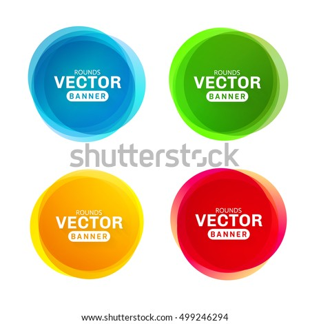 Circular colored banners. Creative circles for advertisements or printing. Set of colored spots.
