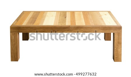 Coffee table with top made of different wood types. White background, isolated #499277632