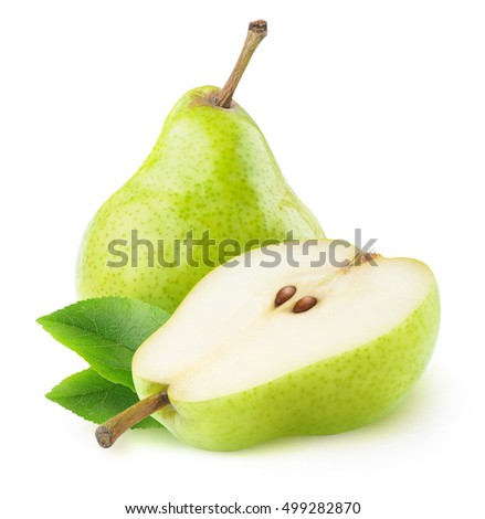 Isolated pears. One and a half green pear fruit isolated on white background with clipping path #499282870