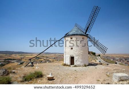 CONSUEGRA, SPAIN . JUNE 24, 2016 Group of windmills in Campo de Criptana. La Mancha, Consuegra, Don Quixote route, Spain, Europe #499329652
