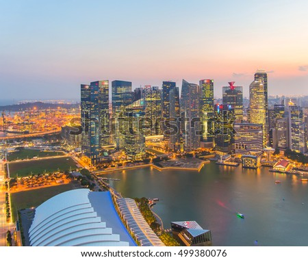 Landscape of the Singapore financial district and business building. #499380076