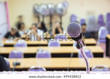 Microphone in hall or conference room  #499438852