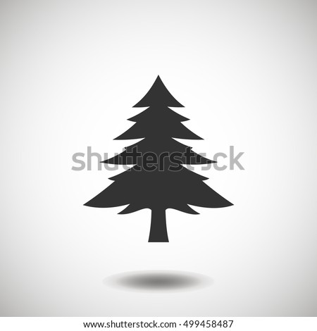 Fir-tree black icon, silhouette and vector logo. Flat isolated element. Nature sign and symbol. Christmas tree, happy new year 2017