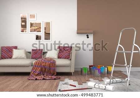 Repair and painting of walls in room. 3D illustration. #499483771
