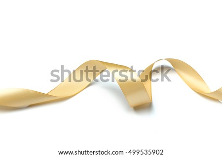 Golden ribbon collection isolated on white #499535902