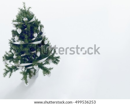 Christmas tree in the room 3d rendering #499536253