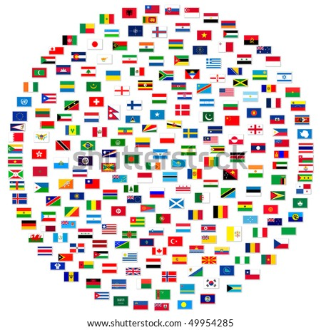 Collection of world flags on white isolated
