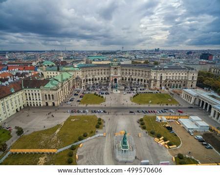 VIENNA, AUSTRIA - OCTOBER 07, 2016: Neue Burg, Heldenplatz, Weltmuseum Wien, Prinz Eugen von Savoyen, Ephesos Museum, Austrian National Library in Vienna, Austria. #499570606